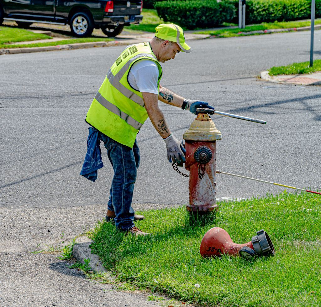 TWW water-distribution system technician tests a fire hydrant
